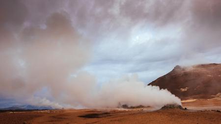 Fumarole field in Namafjall Iceland. Beauty world Banco de Imagens