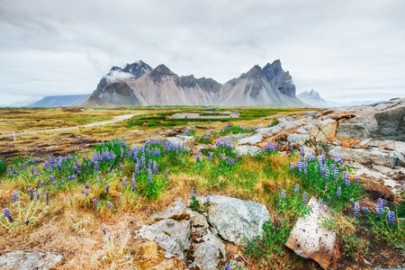Gentle slopes of snow-capped mountains and glaciers. Wonderful Iceland in the spring Stock Photo - 85970036