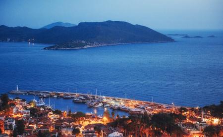 Panorama van de kust in de avond over de stad van Trapani. Sicilië, Italië, Europa Stockfoto