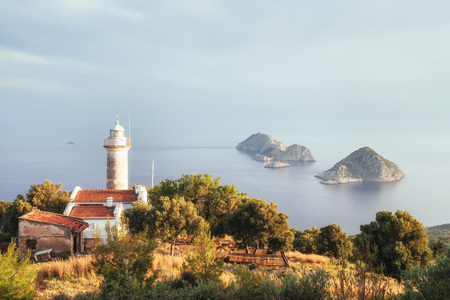 Lighthouse Gelidonya Peninsula in spring. Beautiful landscapes outdoors in Turkey and Asia. The landscape in the Mediterranean Stock Photo