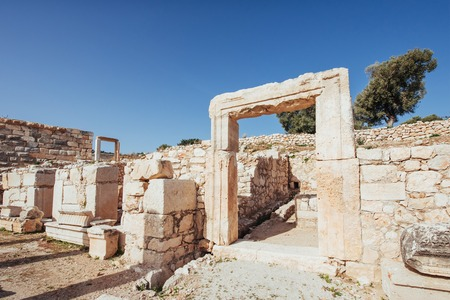 City walls in the ruins of Troy, Turkey Foto de archivo