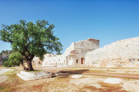 City walls in the ruins of Troy, Turkey 版權商用圖片