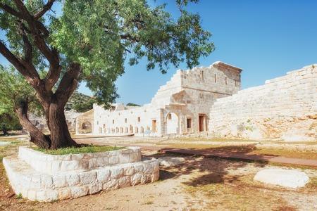 City walls in the ruins of Troy, Turkey Archivio Fotografico