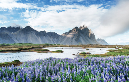 Picturesque views of the river and mountains in Iceland