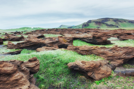 Scenic view of volcanic rocks in Iceland