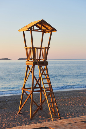 Beach wood cabin in Spain for coast guard Stok Fotoğraf