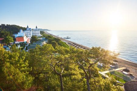View of beautiful luxury hotel. A popular summer resort in Turkey. Banco de Imagens
