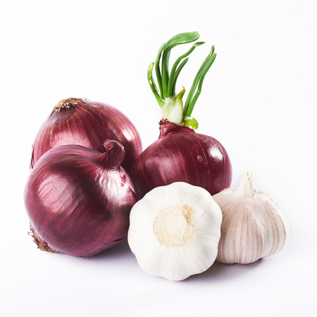 blue onion and garlic on a white background