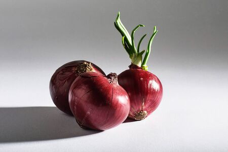 Red onion whole, isolated on white background