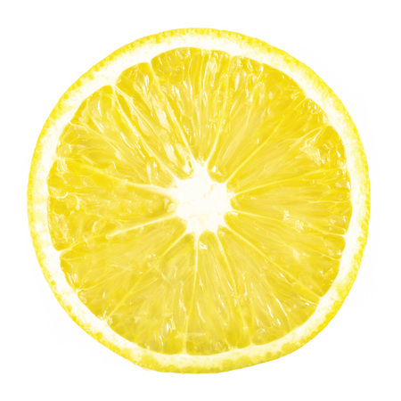 slice ripe lemon citrus fruit on a white background Фото со стока