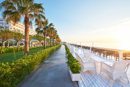 Beautiful embankment for walking and sport in Alanya Turkey.