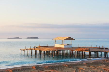 Beautiful beach with pier at the Mediterranean Resort in Turkey