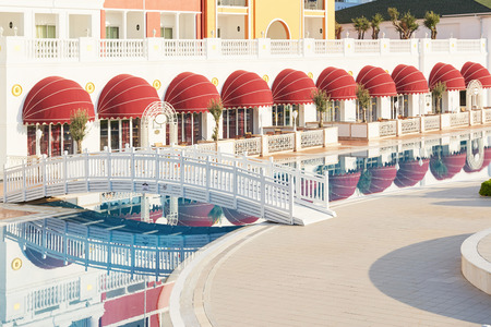 The popular resort Amara Dolce Vita Luxury Hotel. With pools and water parks and recreational area along the sea coast in Turkey. Tekirova-Kemer