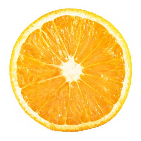 スライス熟したオレンジ柑橘類果実の白い背景の分離 写真素材