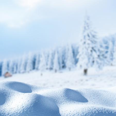 冬の雪の吹きだまり景色雄大な山々。魔法の冬の雪には、ツリーが覆われています。休日を見越して。冬の劇的なシーン。カルパティア。ウクライ 写真素材