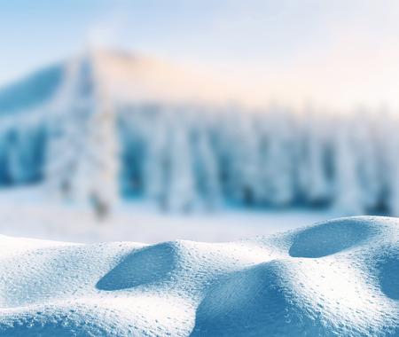 雪と浸食風景の山と冬の背景。テキストの Copyspace。魔法の冬の雪覆われた木。カルパティア。ウクライナ 写真素材