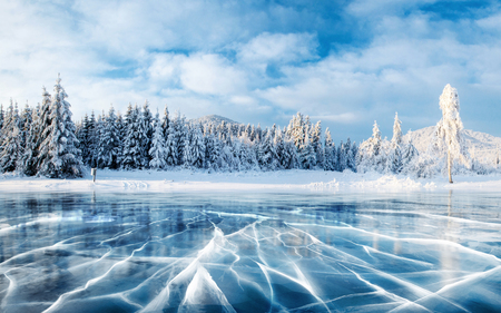 Blue ice and cracks on the surface of the ice. Frozen lake under a blue sky in the winter. The hills of pines. Winter. Carpathian, Ukraine, Europe