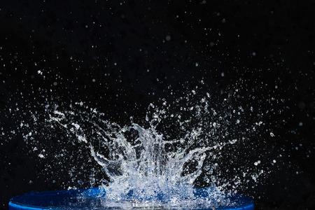 Beautiful blue water drops falling down