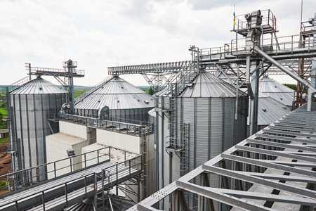 Agricultural Silo - Building Exterior, Storage and drying of grains, wheat, corn, soy 版權商用圖片
