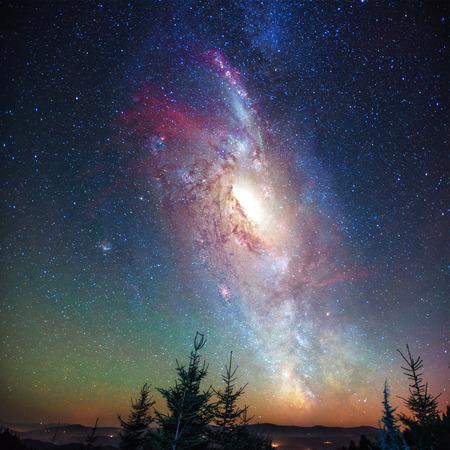 환상적인 별이 빛나는 하늘과 소나무의 꼭두각시 위의 은하수 같은 길. NASA의 의례