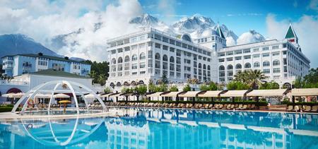 TEKIROVA TURKEY - APRIL 25 2017: Swimming pool and beach of luxury hotel. Type entertainment complex. Amara Dolce Vita Luxury Hotel. Resort. Tekirova-Kemer.