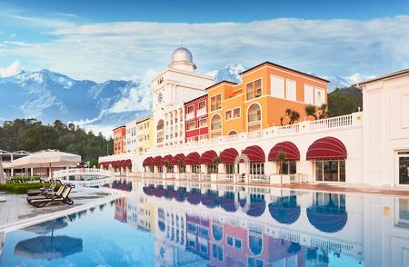 TEKIROVA TURKEY - APRIL 25 2017: Swimming pool and beach of luxury hotel. Type entertainment complex. Amara Dolce Vita Luxury Hotel. Resort. Tekirova-Kemer. Turkey