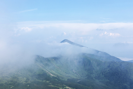 Mountains in Europe. Ukraine. Carpathians. Mountain trekking. Traveling in the mountains. Mountain views and landscapes, plants in the mountains, tourist routes. Фото со стока