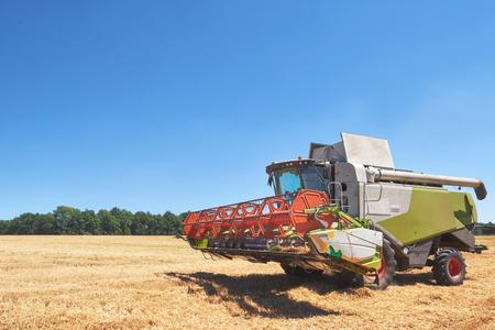 kombajn do pracy na polu pszenicy