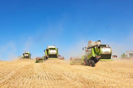 TERNOPIL - 20 luglio: alcuni combina un'andana nel mezzo di un campo di grano durante la vendemmia, il 20 luglio 2017, a Ternopil. Archivio Fotografico - 86464760