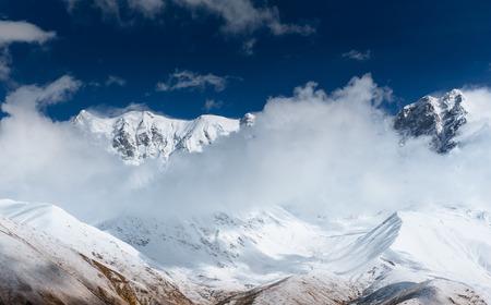 hick fog on the mountain pass Goulet. Georgia, Svaneti. Europe. Caucasus mountains Stock Photo