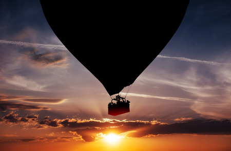 Balloon silhouette in the sunset