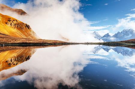 Koruldi mountain lake. Upper Svaneti, Georgia, Europe. Caucasus mountains. Stock Photo