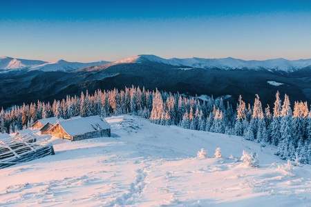 Mysterious winter landscape majestic mountains in winter. Magical winter snow covered tree. Winter road in the mountains. In anticipation of the holiday. Dramatic wintry scene. Carpathian. Ukraine Standard-Bild
