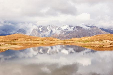 Koruldi mountain lake. Upper Svaneti, Georgia, Europe Caucasus mountains. Stock Photo