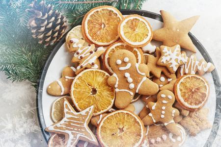 Christmas honey biscuits with orange. Happy New Year and Christmas. Bokeh light soft effect.