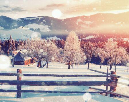 신비한 겨울 풍경 장엄한 산 겨울입니다. 마법의 겨울 눈이 덮여 나무. 사진 인사말 카드입니다. Bokeh 조명 효과, 부드러운 필터. 스톡 콘텐츠 - 91277297