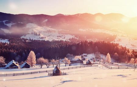 神秘的な冬の風景は、冬に壮大な山々。魔法の冬の雪に覆われた木。写真グリーティングカード。ボケライト効果、ソフトフィルター。