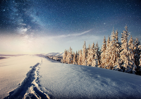 starry sky in winter snowy night. fantastic milky way in the New Years Eve. Starry sky snowy winter night. The Milky Way is a fantastic New Years Eve. Winter road in the mountains