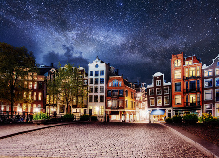 Highlighting buildings and streets Amsterdam, the Netherlands. 스톡 콘텐츠