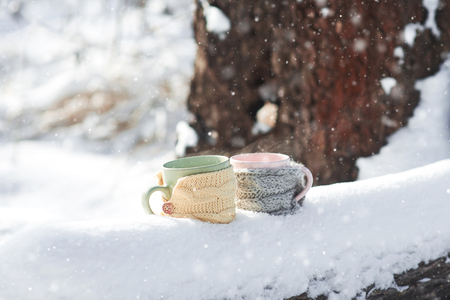 Two cups of tea on background of a winter park landscape Stock Photo