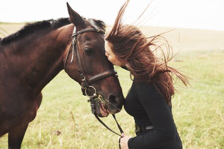 A happy girl communicates with her favorite horse. The girl loves animals andhorseback riding.