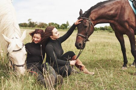 Two young beautiful girls in gear for riding near their horses. They love animals. Stockfoto