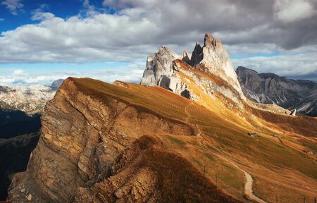 Gorgeous daylight. Outstanding hills of the Seceda dolomite mountains at daytime.