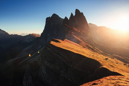 Gorgeous nature. Beautiful sunset in the Italian majestic Seceda dolomite mountains.