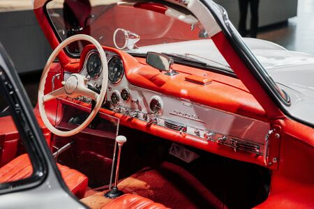 STUTTGART, GERMANY - OCTOBER 16, 2018: Mercedes Museum. Can see all details. Inside of expencive collectible vintage car.