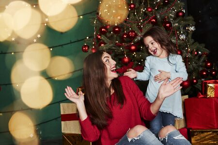 Beautiful mother playing with her daughter in the gorgeous decorated room with Christmass tree.