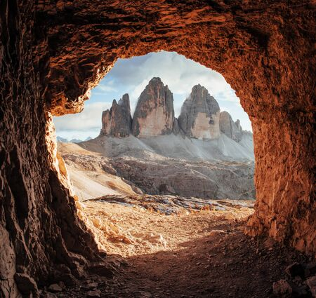Majestic Tre Cime mountains of three peaks. Gorgeous photo in the sunny day. Scenery Italian landscapes.