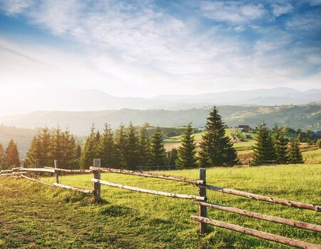 Beautiful summer mountain landscape at sunshine. View of the meadow fenced fence. Rural landscape. Zdjęcie Seryjne