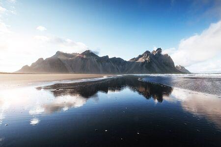 Beautiful Jokulsarlon ake with mountain and blue sky background, Iceland season landscape background.