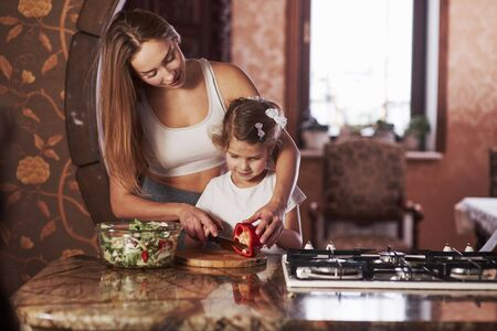 You can easily do it. Pretty young woman standing in the modern kitchen near gas stove and teaches daughter to prepare food. Фото со стока